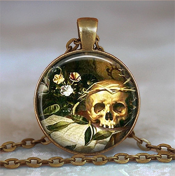 All Hallow's Eve pendant, Halloween necklace Halloween pendant Samhain jewelry Wiccan jewelry Goth necklace Skull necklace