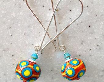 Feeling Groovy Lampwork Beaded Earrings with Long Sterling Wires