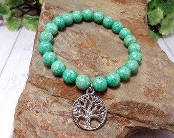 Silver Tree of Life Stretch Bracelet With Green Riverstone Beads