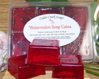 Watermelon Soap Cubes  ~ Watermelon Scented Soap OR Choose Your Scent ~ Travel Soap ~ Soap to Go