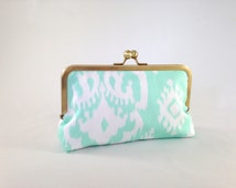 Mint Clutch. Mint and White Clutch. Mint Ikat Clutch. Mint Wedding Clutch. Mint Bridesmaid Clutch. Mint and Gold Clutch. READY TO SHIP