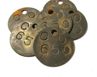 Brass Tool Tag VINTAGE Number CO 650 Six (6) Bethlehem Steel Co Scrapbook Altered Art Assemblage Mixed Media Jewelry Supplies Tag (L135)