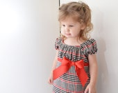 BLACK FRIDAY SALE - Girl's Peasant Dress, plaid, flannel, red, black, Christmas dress, holiday,