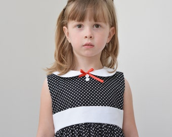 Girls Dress, black and white, polka dot, peter pan collar, vintage inspired, traditional, classic clothing - 12 ms - 5T