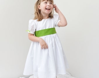 Girls Dress, white, green, classic, snow, twirl, toddler girl, country - 12 ms - 5T