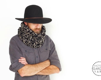 THE BRACKISH COWL | 23 Color Choices | Mens Scarf Cozy Chunky Textured Knit Infinity Cowl
