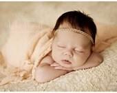 Baby Gold Headband, Newborn Headband, Beaded Baby Halo, Newborn Props, Girl Headband, Baby Photo Props, Baby Tiara, Baby Gold Crown