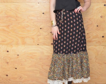 Vintage 70's Gunne Sax Maxi Skirt Black Yellow & Cream Calico Floral Print SZ S