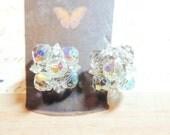 Faceted Crystal Vintage Earrings Brillian Clip On Wedding Bridal Vintage Jewelry