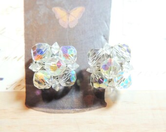 Faceted Crystal Vintage Earrings Brillian Clip On Wedding Bridal Vintage Jewelry