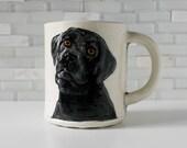 Black Lab Mug | ceramic clay coffee mug tea cup | pet dog portrait | labrador retriever mug | made to order
