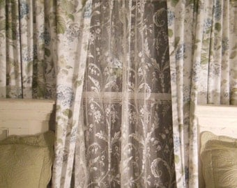Custom Made to Order Net Lace Window Curtains with Vintage Lace Edging
