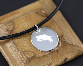 Custom Map Pendant Necklace, Any Map Engraved, 925 Sterling Silver