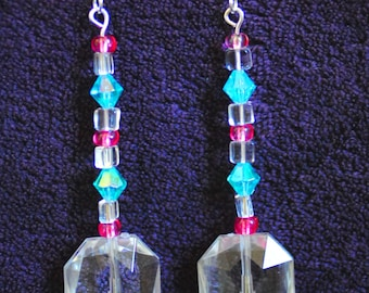 Glass Crystal Blue-Pink Earrings - FREE Shipping USA