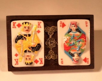 King and Queen of Diamonds hand painted porcelain brooch