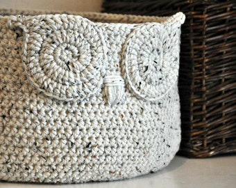 Oatmeal Owl Basket Crocheted Bin Neutral Baby Room Decor Woodland Nursery Decor Home Organizer