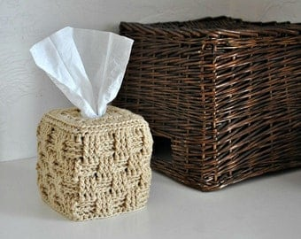 Tan Tissue Box Cover Modern Home Decor Beige Basket Weave Neutral