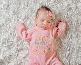 Newborn Baby Girl Pink Romper, Hello World, Pink Hospital Set, Gold, Mint, Personalized, New Baby Shower Gift, Pink Bow Headband