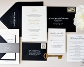 INVITATION SAMPLE The Plaza Suite - Gold Foil and Black Letterpress Wedding Invitation - Heirloom Wedding Invitations by Sincerely, Jackie