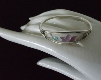 Mexico Silver Inlaid Mother of Pearl Cuff - Bracelet - Vintage - Small - Child's - Gifts - #1632