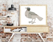 pigeon poster, bird print, silhouette art, 11x14 bird poster, whimsical animal art, dove print, gray beige bird home decor, hipster poster