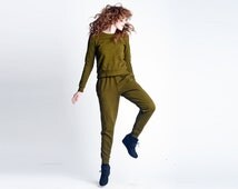 Skinny Sweats Loose Fit Joggers | Sweatpants Army Hunter Green | Harem Sweats | High Waist Sweatpants Pants Loungewear | SALE XS, S, M, L