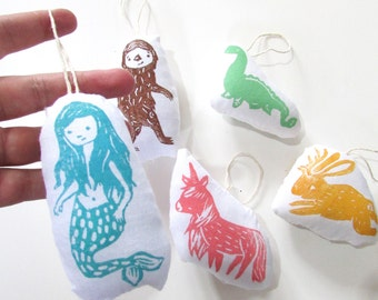 Mythical Creatures Ornament Set of 5. Hand Woodblock Printed. made to order 2 weeks.