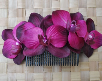 Beautiful comb with 5 wine/magenta orchids and green leaves vintage rockabilly style wedding 40s 50s