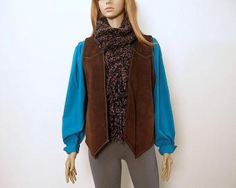 Vintage 1970s Handmade Dark Brown Suede Leather Vest Waistcoat / Medium