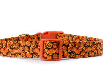 Tiny Halloween Pumpkins,,,,,, Halloween Dog Collar,, Orange Pumpkins Jack o Lanterns Dog Collar
