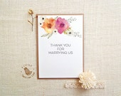 Thank you for marrying us card. Thank you Officiant card. Floral Wedding Thank you Card. TK505