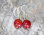 Red Earrings, Glass Earrings, Shiny Earrings, Holiday Earrings, Handmade Earrings, Christmas Earrings, Round Earrings, Holiday Jewelry