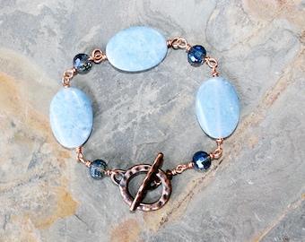 Boho Light Blue Bracelet, Jade Bracelet, Copper Bracelet, Stone Bracelet, Handmade Bracelet, Chunky Bracelet, Stone Nugget Bracelet, Spring