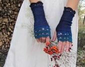Blueberry Forest - Elegant Crochet Fingerless Gloves in denim, indigo blue, teal and turquoise