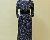 Vintage 1950s Cocktail Dress...Sophisticated Silk Blue and Black Cocktail Dress