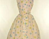 Vintage 1960s Dress...STACY AMES White with Polka Dots Crepe Day Dress