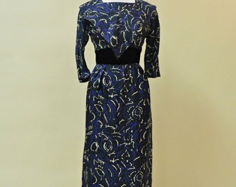 Vintage 1950s Cocktail Dress...Sophisticated Silk Blue and Black Cocktail Dress