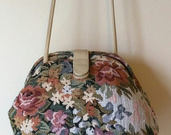 Vintage 1980's 90's Floral Tapestry Cross Body purse bag Boho Bohemian Festival purse Roses
