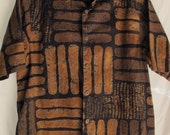 Men's Batik Short Sleeve Shirt Handmade Cotton Indonesian Summer Shirt Brown Rust Black Tribal Ethnic Print Size Medium