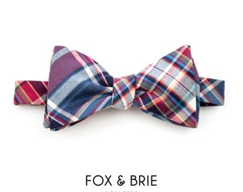 Berry Plaid Bow Tie