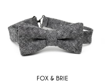 Charcoal Chambray Kids Bow Tie
