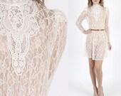 Lace Dress Lace Wedding Dress Deco Dress Wedding Dress Floral Dress Vintage 80s Sheer Ivory Floral Lace Deco Cocktail Party Mini