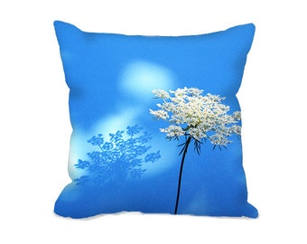 Square Pillow Cover with Queen Anns Lace flower in white and blue, floral throw pillow cover