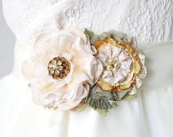 Golden Yellow Bridal Sash, Floral Wedding Dress Belt, Flower Corsage Pin for Dress, Floral Ribbon Belt, Fabric and Lace Flower Sash