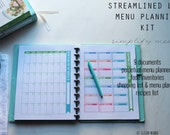 MENU - The Streamlined Life MENU Planning Kit - 9 documents - standard and half size included - Instant Download