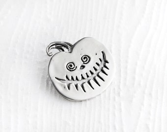 Spooky Pumpkin Sterling Silver Pin Brooch