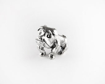 Bull Dog Sterling Silver Pin
