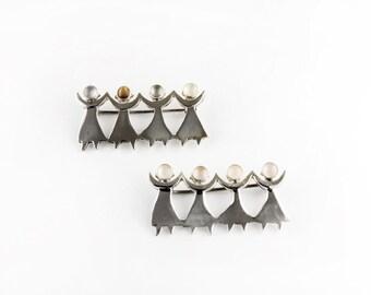 Girl Power Sterling Silver Pin Brooch