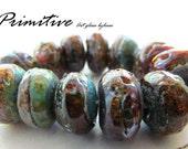 Rustic Organic HANDMADE LAMPWORK Bead Set  SRA Artisan  Designer Beads Glass By Leese