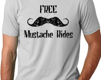 Free Mustache Rides Funny T-shirt screenprinted Humor Tee